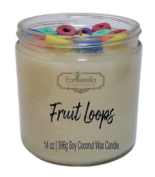 FRUIT LOOPS 14 oz Luxury Jar Candle with wax rings on top   Coconut Soy Wax Blend   Mother's Day Gift   Gift for Her