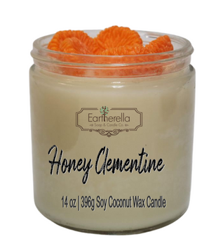 HONEY CLEMENTINE 14 oz Luxury Jar Candle with wax mandarin oranges on top   Coconut Soy Wax Blend   Mother's Day Gift   Gift for Her
