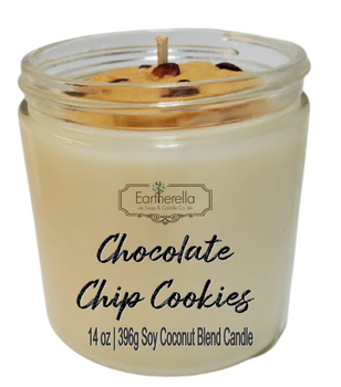 CHOCOLATE CHIP COOKIES 14 oz Luxury Jar Candle with wax cookies on top   Coconut Soy Wax Blend   Mother's Day Gift   Gift for Her