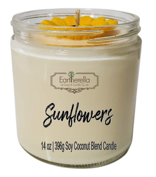 SUNFLOWERS 14 oz Luxury Jar Candle with wax sunflower on top   Coconut Soy Wax Blend   Mother's Day Gift   Gift for Her
