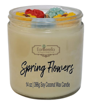SPRING FLOWERS 14 oz Luxury Jar Candle with wax flowers on top   Coconut Soy Wax Blend   Mother's Day Gift   Gift for Her