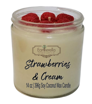 STRAWBERRIES & CREAM 14 oz Luxury Jar Candle with wax strawberries on top   Coconut Soy Wax Blend   Mother's Day Gift   Gift for Her