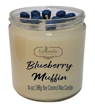 BLUEBERRY MUFFIN 14 oz Luxury Jar Candle with wax blueberries on top   Coconut Soy Wax Blend   Mother's Day Gift   Gift for Her
