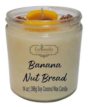 BANANA NUT BREAD 14 oz Luxury Jar Candle with wax pecans and bananas on top   Coconut Soy Wax Blend