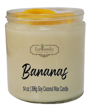 BANANA Scented 14 oz Luxury Jar Candle with wax bananas on top   Coconut Soy Wax Blend