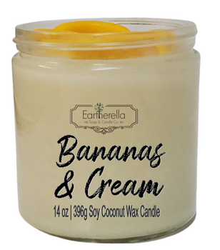 BANANAS & CREAM Scented 14 oz Luxury Jar Candle with wax bananas on top   Coconut Soy Wax Blend