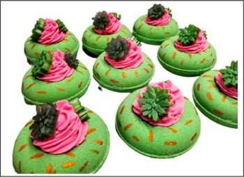 1/2 lb CACTUS BLOSSOM Donut Bath Bomb with Bubble Frosting & succulent soaps
