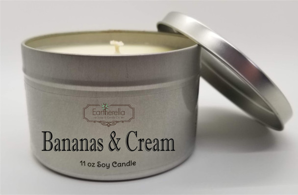 BANANAS & CREAM Soy Candle  11 oz Tin
