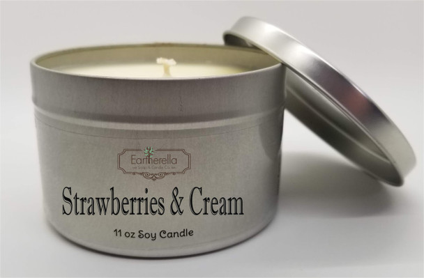 STRAWBERRIES & CREAM Soy Candle 11 oz Tin