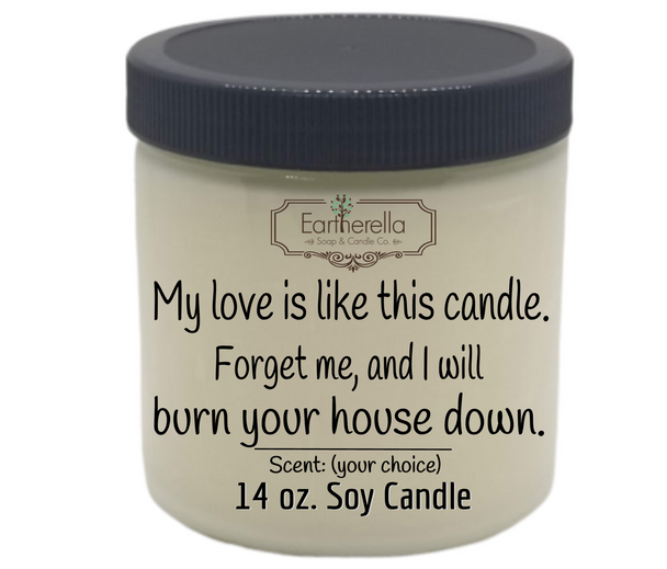 Funny VALENTINE'S DAY themed soy candle I'LL BURN YOUR HOUSE DOWN