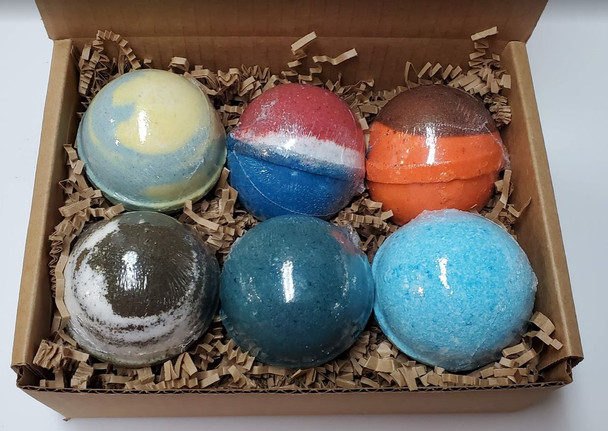 MANLY 6-pack XXL LARGE BATH BOMB gift box