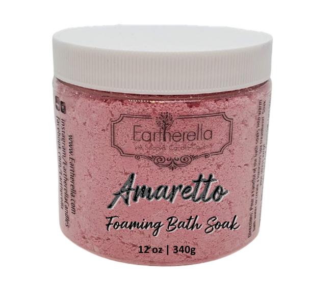 AMARETTO scented Fizzy Bath Soak with Epsom salts, Large 12 oz jar
