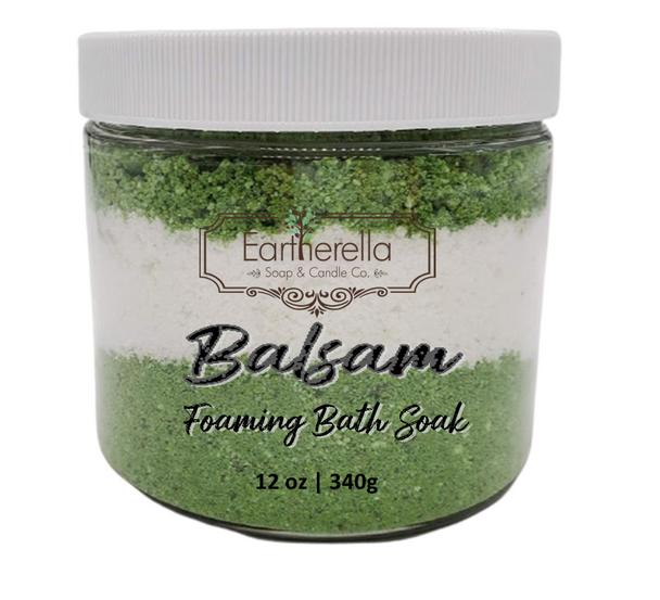 BALSAM scented Fizzy Bath Soak with Epsom salts, Large 12 oz jar