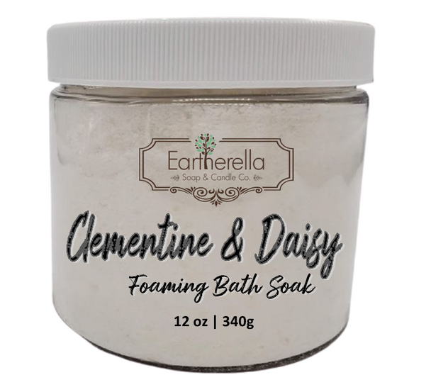 Naked CLEMENTINE & DAISY scented Fizzy Bath Soak with Epsom salts, Large 12 oz jar