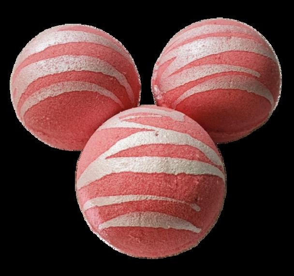 "STRAWBERRIES & CREAM scented giant bath bomb 2.5"" diameter, 5.8 oz"