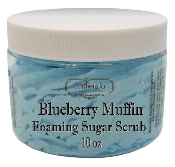 BLUEBERRY MUFFIN Exfoliating Foaming Sugar Body Scrub, 10 oz jar