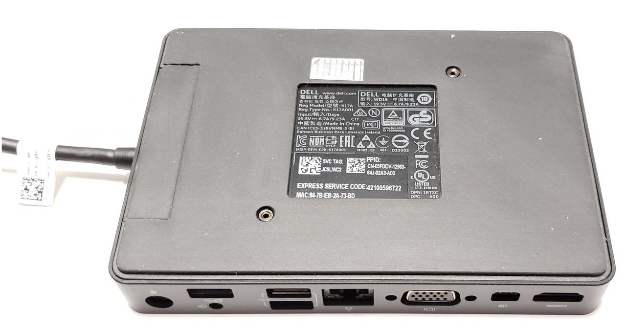 Dell USB-C WD15 Triple 4K Monitor Dock,130W Adapter Included K17A JDV23