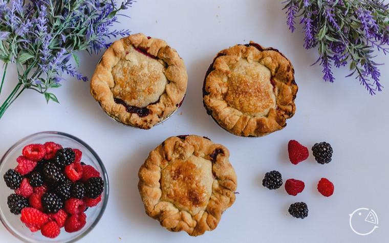 triple berry pie, personal sized