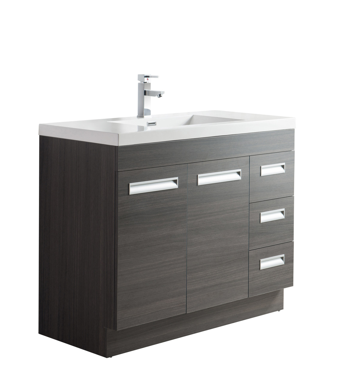 Alma 42 Inch Modern Freestanding Right Side Vanity With Sink