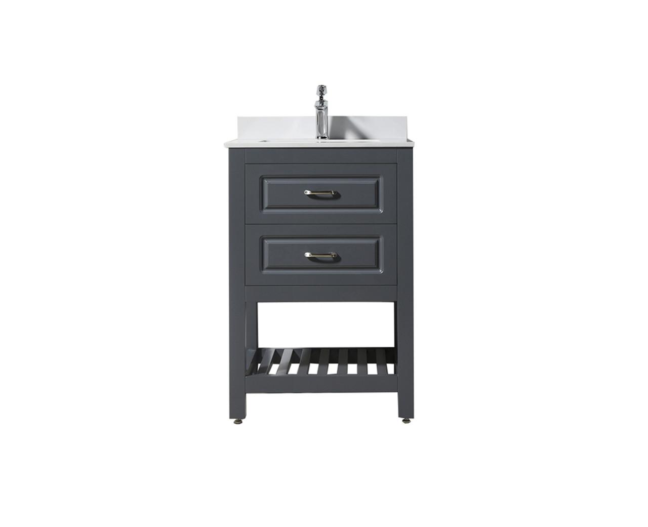 Louis 24 Vanity With White Quartz Top And Ceramic Sink