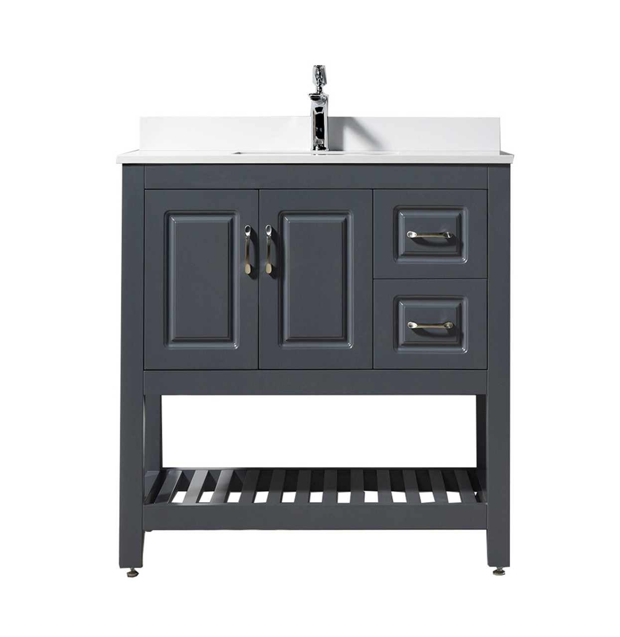 Louis 36 Vanity With White Quartz Top And Ceramic Sink