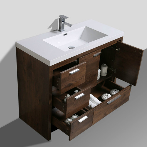Dolce 42 Bath Vanity With Left Side Drawers And Reinforced Acrylic Sink