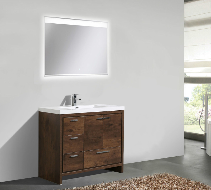 "Dolce 42"" Bath Vanity with Left Side Drawers and Reinforced Acrylic Sink"