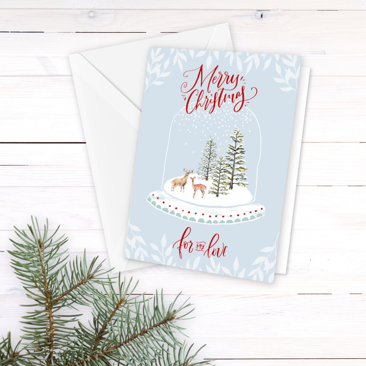 Christmas In Evergreen Snow Globe.Snow Globe Winter Scene Christmas Card For Spouse