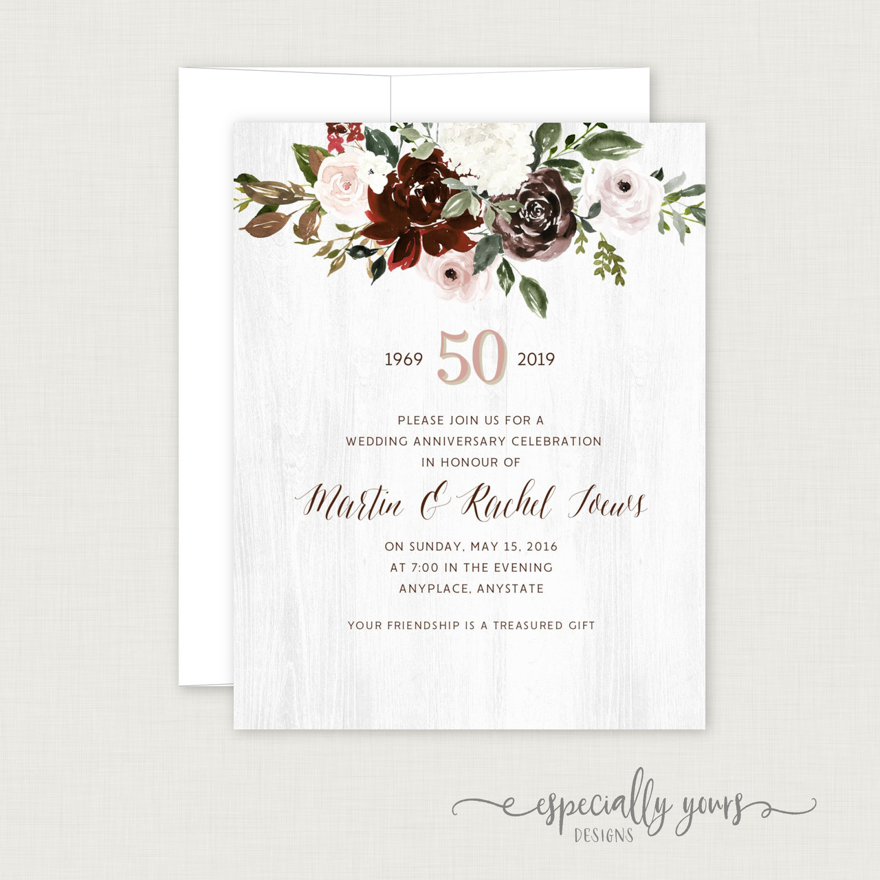 Burgundy Blush Floral Wedding Anniversary Celebration Invitations