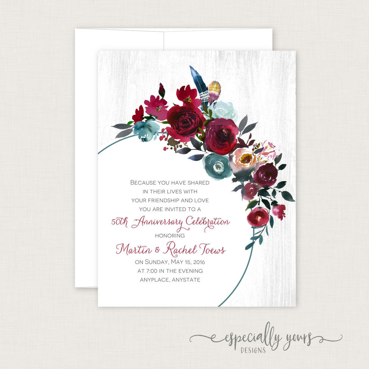 Burgundy Blue Floral Wedding Anniversary Celebration Invitations