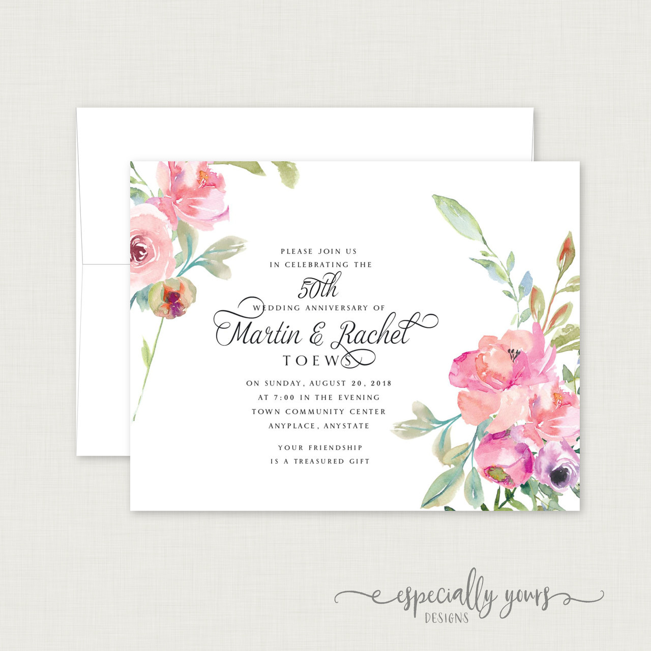 Pink Watercolor Floral Wedding Anniversary Celebration Invitations