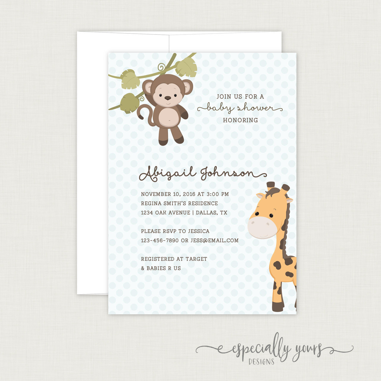 Jungle Animals Baby Shower Invitation Especially Yours Designs