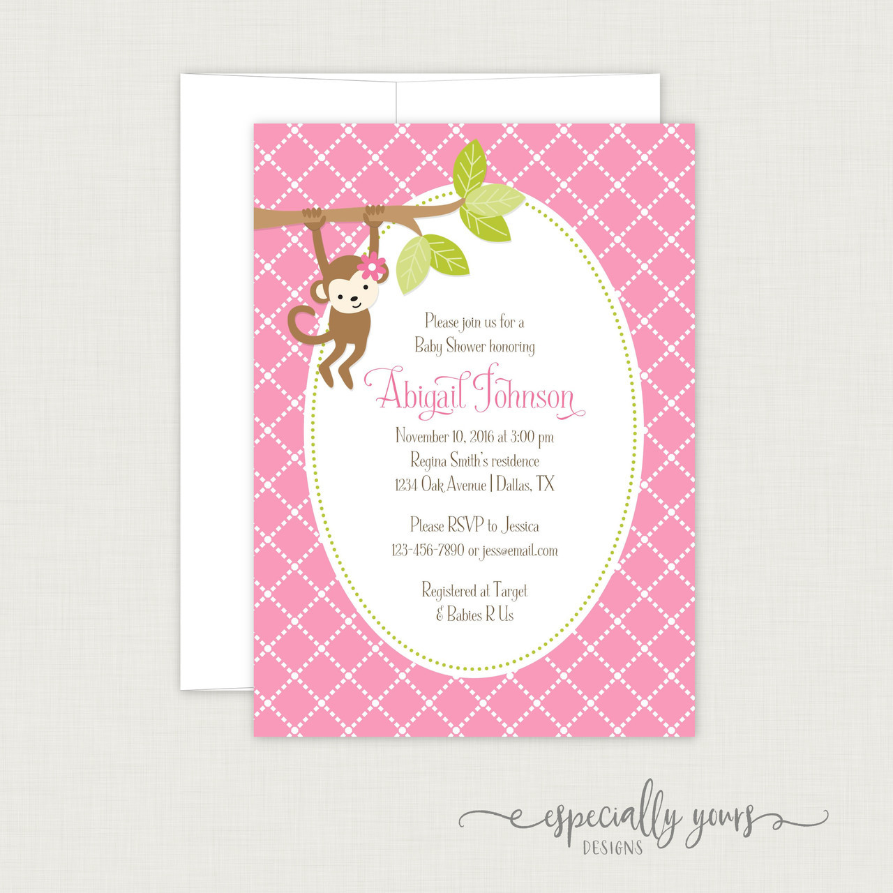 Pink Monkey Baby Shower Invitation Especially Yours Designs