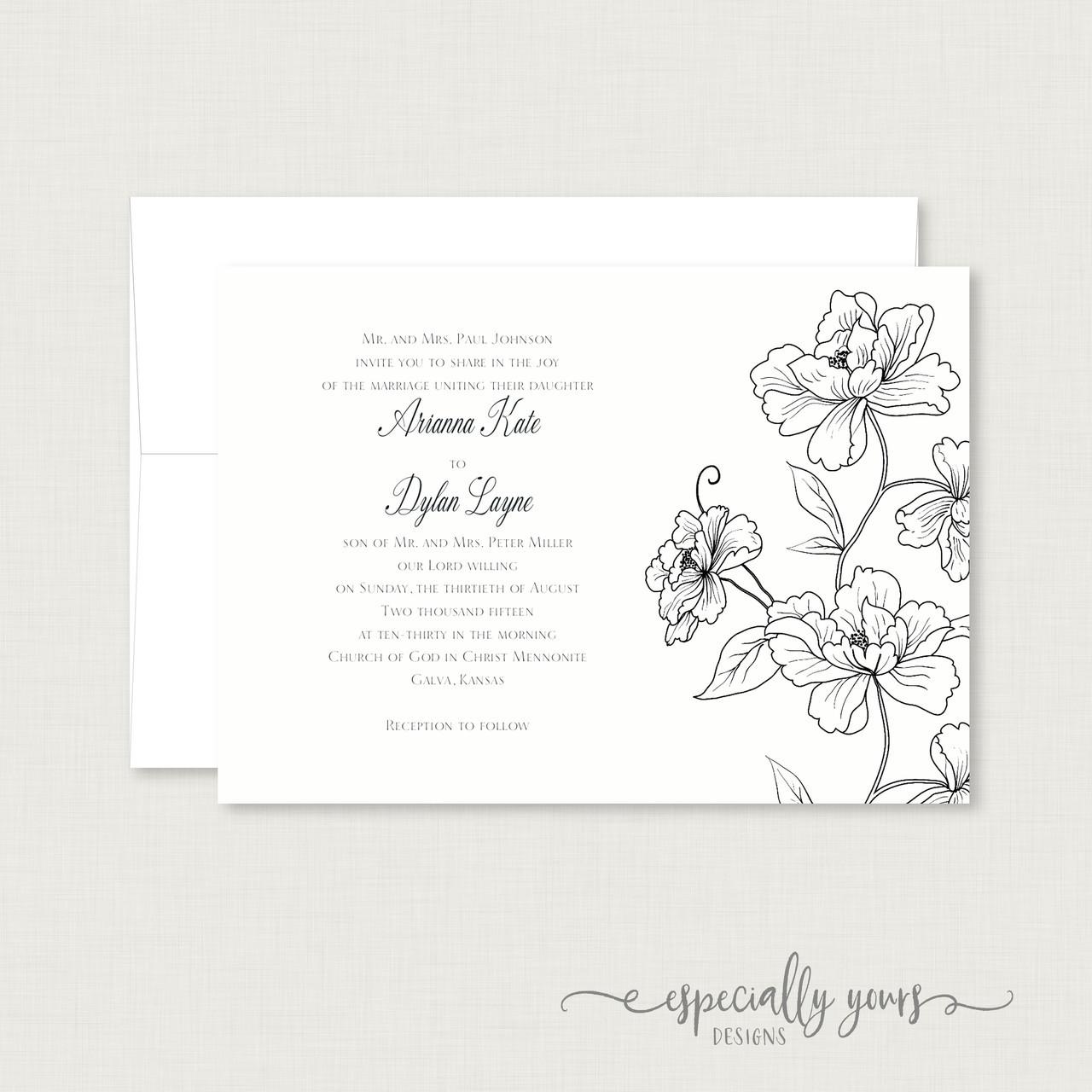 Black White Flowers Outline Wedding Invitation
