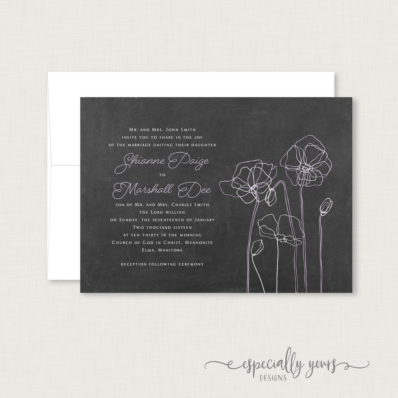 Chalkboard Lavender White Flowers Wedding Invitation