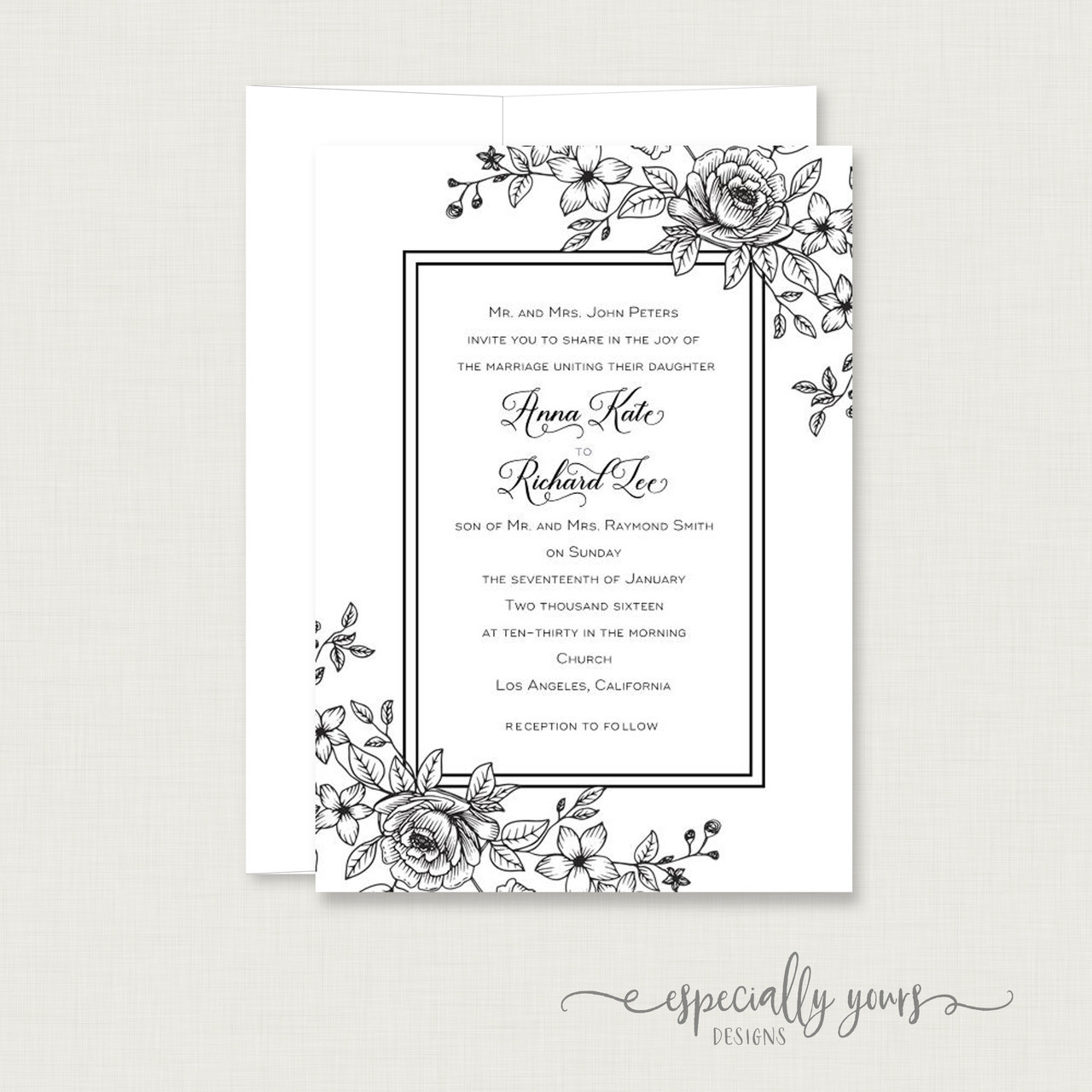 Black Floral Frame Wedding Invitation