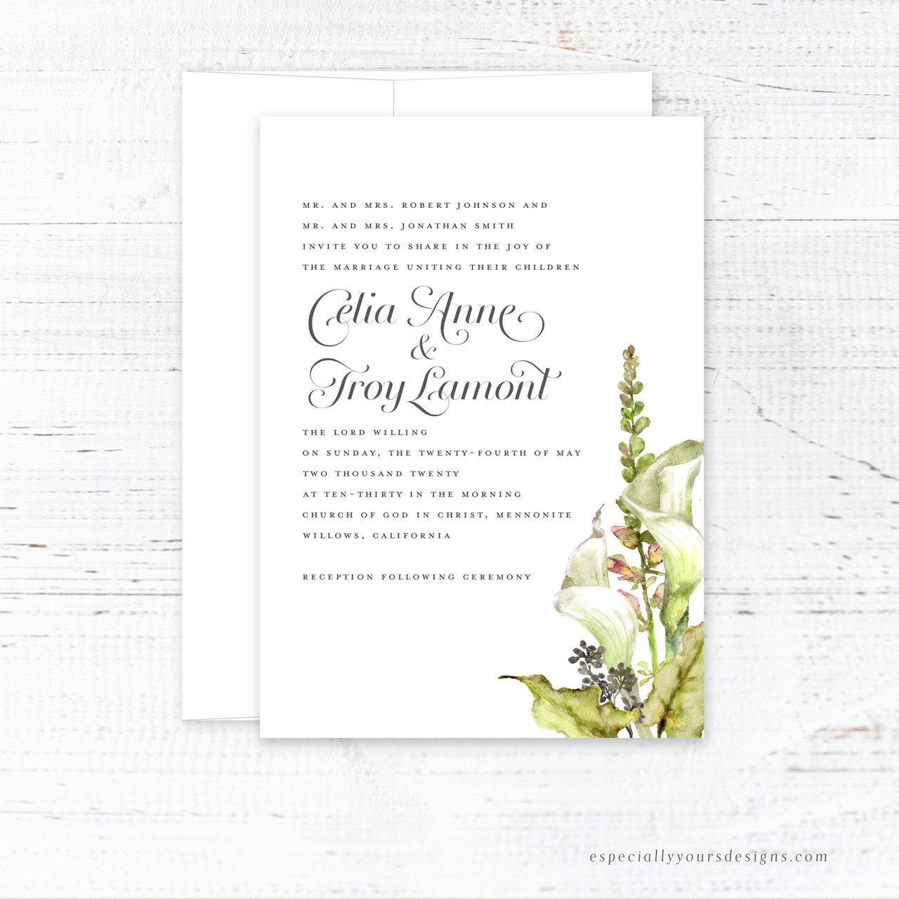 Calla Lily Bouquet Wedding Invitation Especially Yours Designs