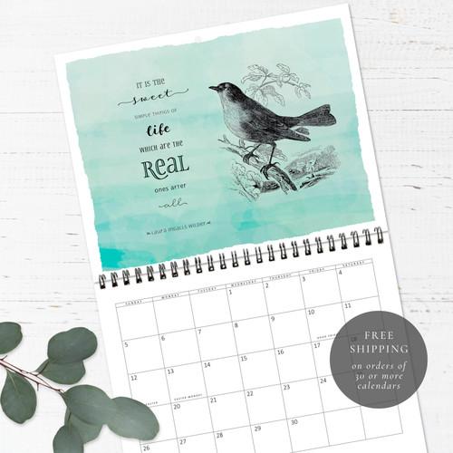 Vintage Birds Birthday Calendar   Congregational or Family Birthday Calendar