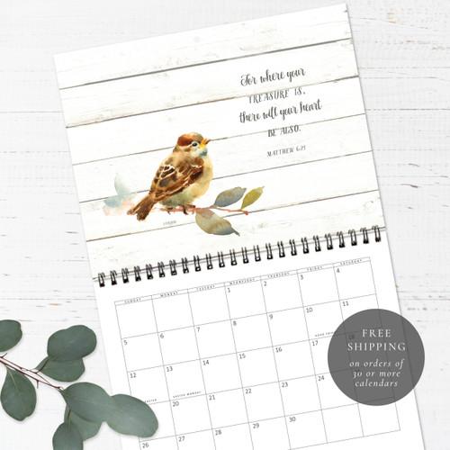 Watercolor Birds Birthday Calendar   Congregational or Family Birthday Calendar