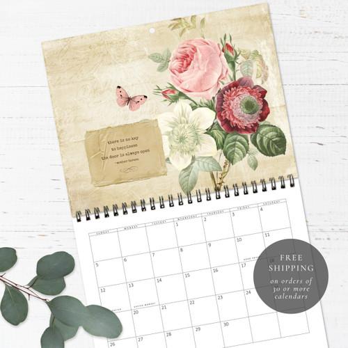 Vintage Botanical Birthday Calendar   Congregational or Family Birthday Calendar