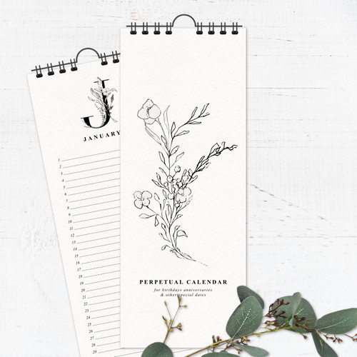 Black & White Vintage Floral Perpetual Calendar | Forever Calendar