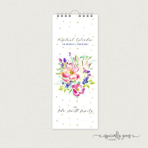Watercolor Floral Perpetual Calendar