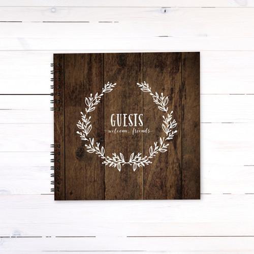 Wooden Wreath Guest Book
