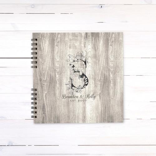 Wooden Floral Monogram Guest Book
