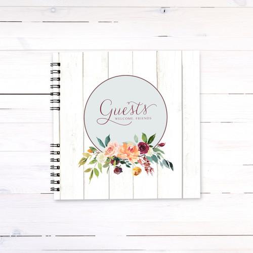Paprika Florals on Wood Guest Book