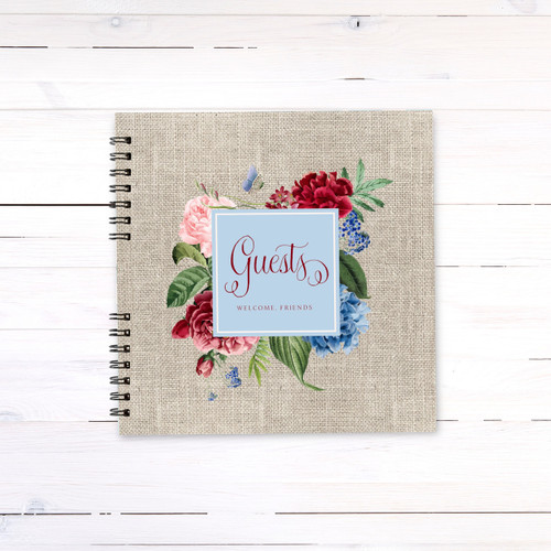 Burlap Vintage Floral Guest Book