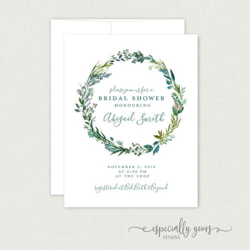 Blue Green Wreath Bridal Shower Invitation