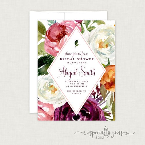 Pink Burgundy Floral Bridal Shower Invitation