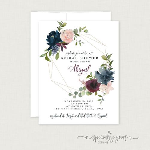 Navy Pink Burgundy Floral Bridal Shower Invitation