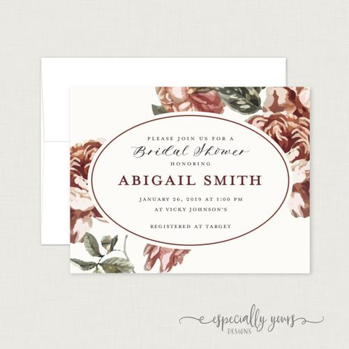 Burgundy Vintage Floral Bridal Shower Invitation